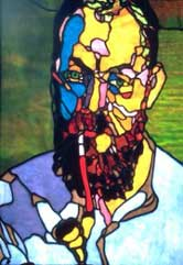 Tony Banfield's interpretation in stained glass of a portrait of Matisse by Derain