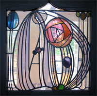 Mackintosh Stained Glass Door Panel