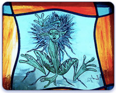 Stained Glass Orchid design Door Panel