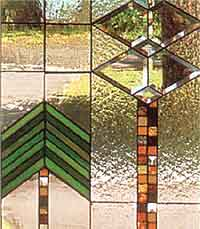 Detail from a window influenced by Frank Lloyd Wright
