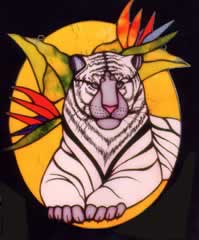 White Bengal Tiger in stained glass