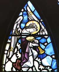 Hendrie: A wee bagpiping angel in stained glass!